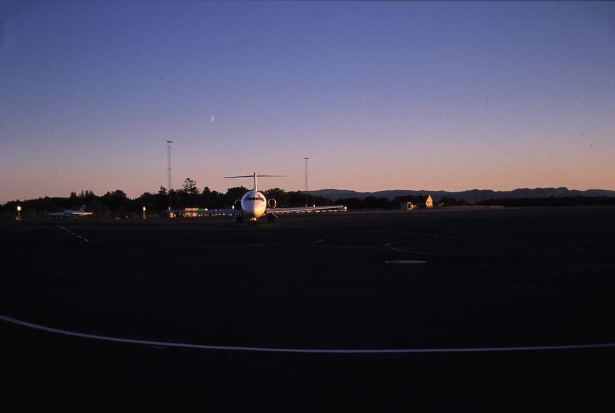 """Lufthavn. 1 fly på bakken, 1 McDonnell Douglas DC-9-41 SE-DDR """"Atle Viking"""" fra SAS, sett forfra."""