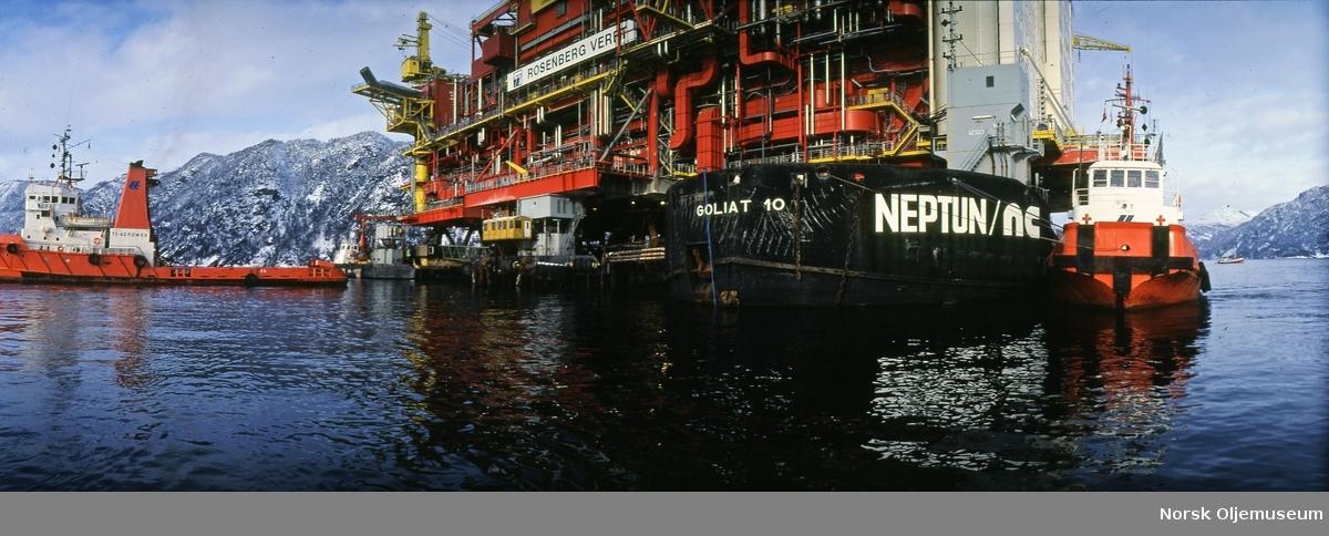 Statfjord C ble koblet sammen i Vats i februar,1984, og installert på feltet i juni samme år.
