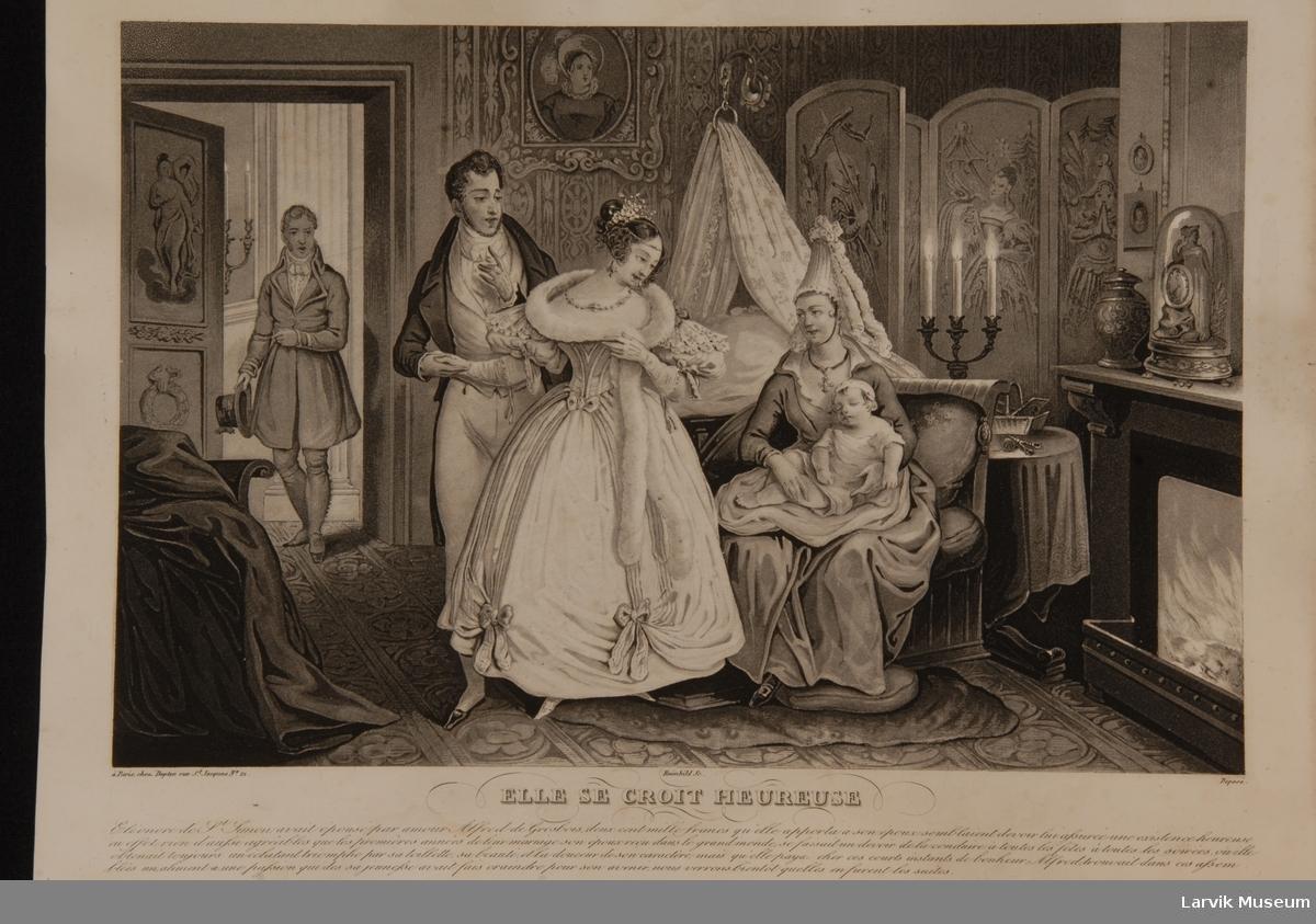 bildene forestiller to forskjellige avsnitt i en adels- dames liv og er øyensynlig ellers en illustrasjon til en populær-sentimental roman. trykt i Paris senest i 1840 årene. 3 festkledde mennesker sier farvel til barnepike og lite barn i rikt dekorert rom