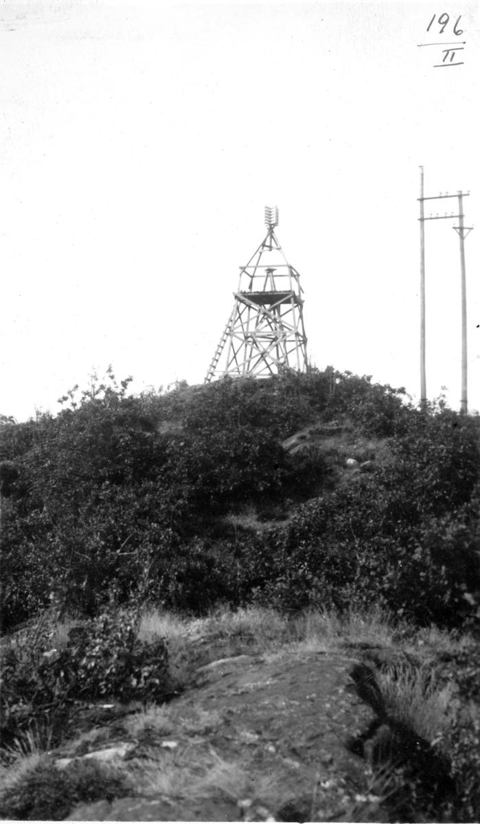 GEODESI. Triangulering: tårnet på Flekkerøy.