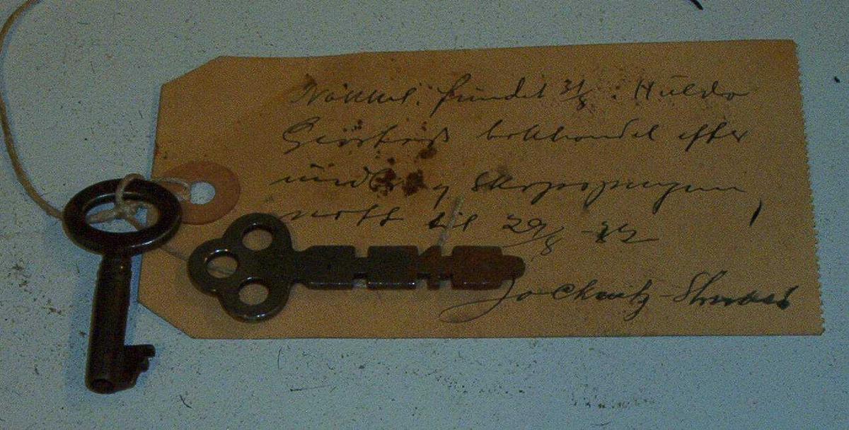 OPM Nøkler funnet 31.08.1932 etter innbrudd og skapspregning 29.08.1932