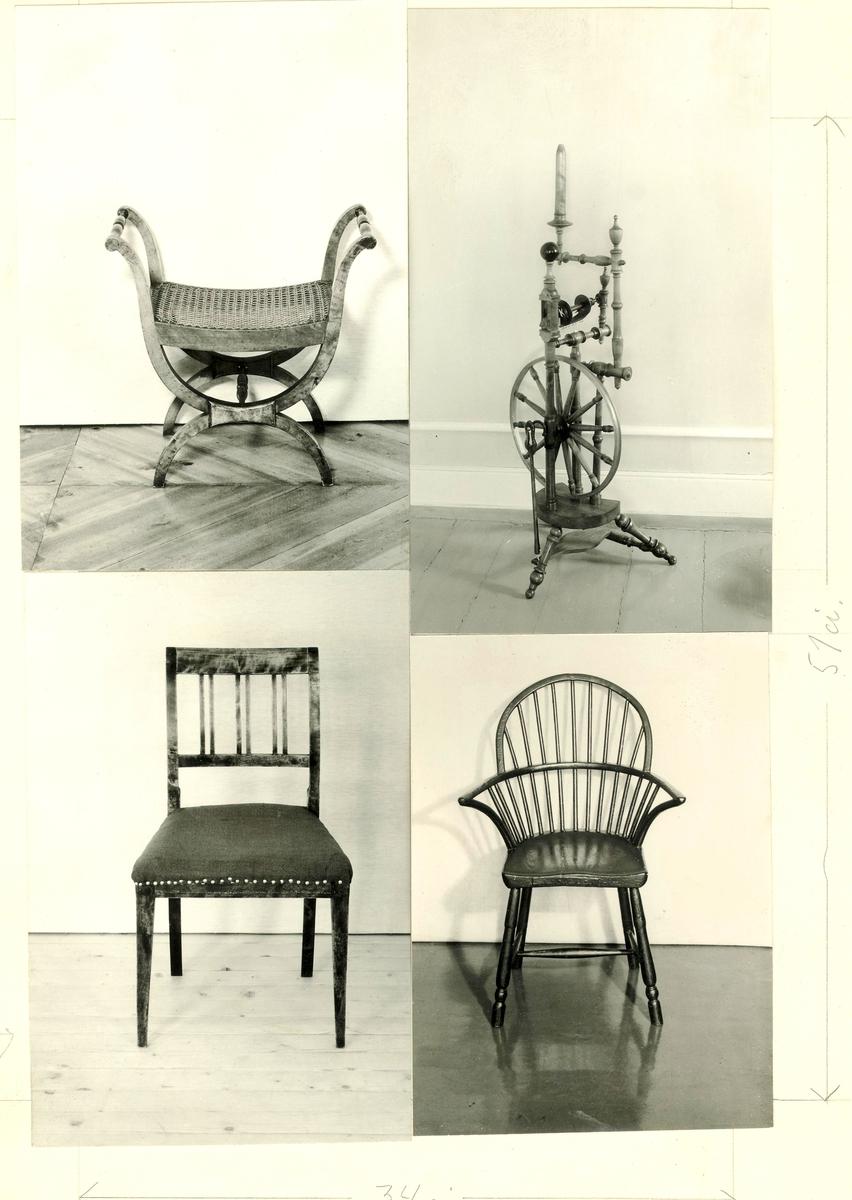 Fire forskjellige fotografier:rokk, stol uarmlene