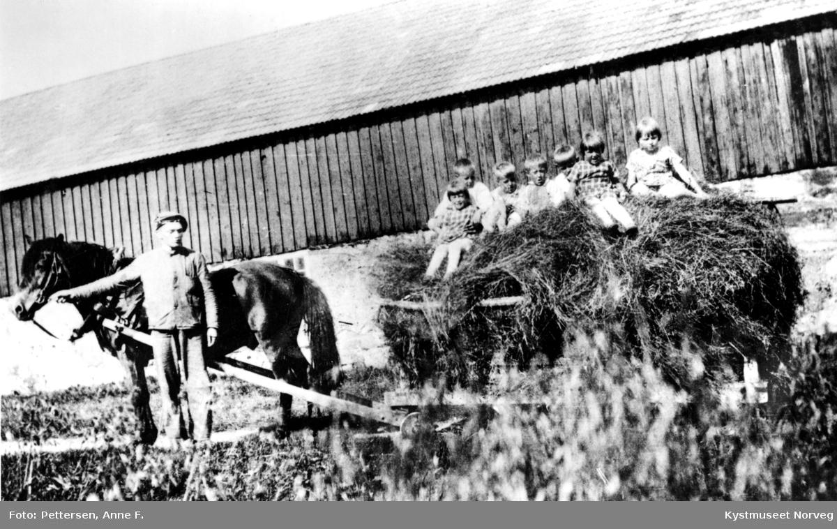 Erling Jackobsen, Kari og Johs. Furre, Otto Pettersen, Alf Johansen, Einar, Aud og Vigdis Furre kjører høy på Skei, Leka