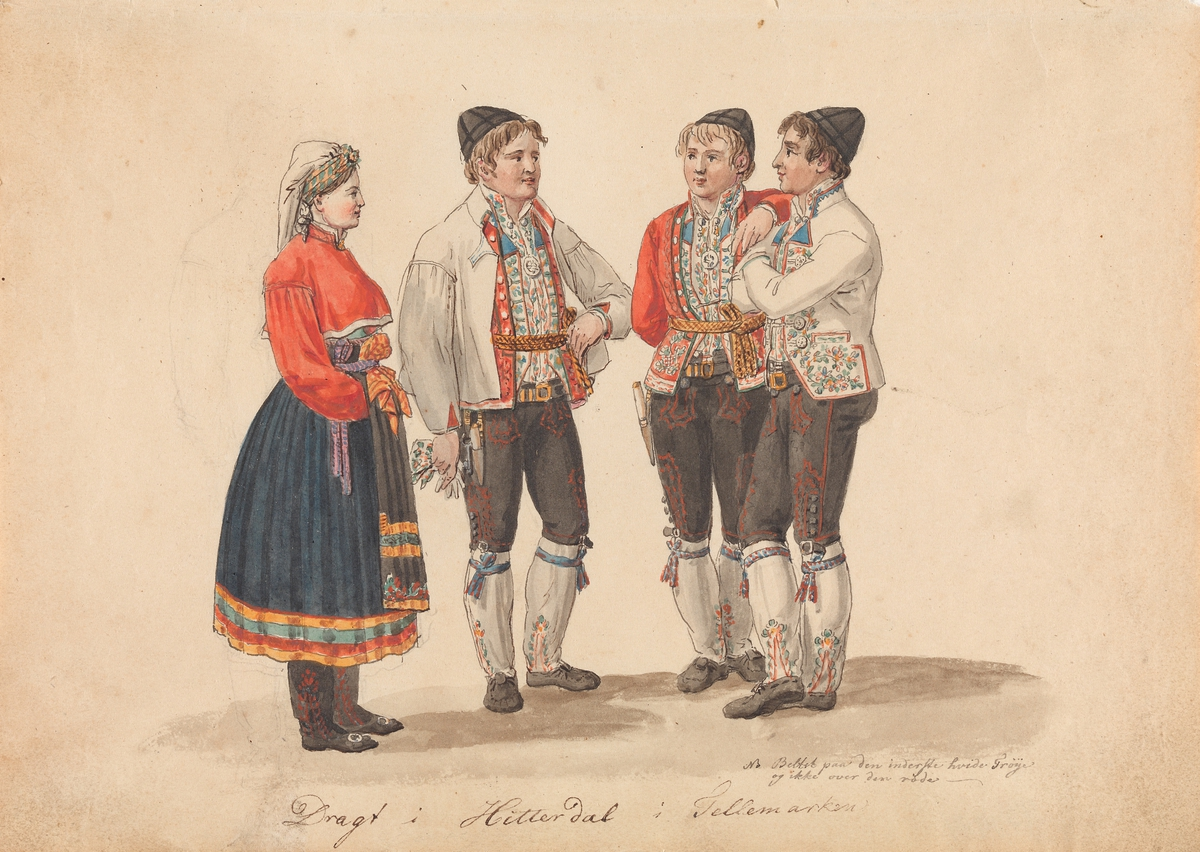 Draktstudier fra Heddal i Telemark [Tegning]