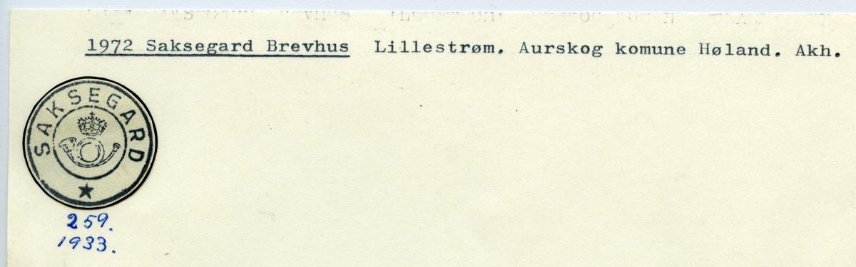 Stempelkatalog  1972 Saksegard, Aurskog kommune, Akershus