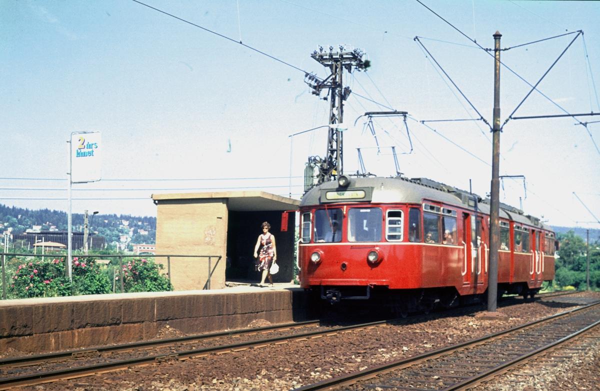 A/S Holmenkolbanen. Oslo Sporveier. Sognsvannsbanen. Vestgrensa stasjon (nedlagt). Vogn 502 type 1946 (Skabo, NEBB).