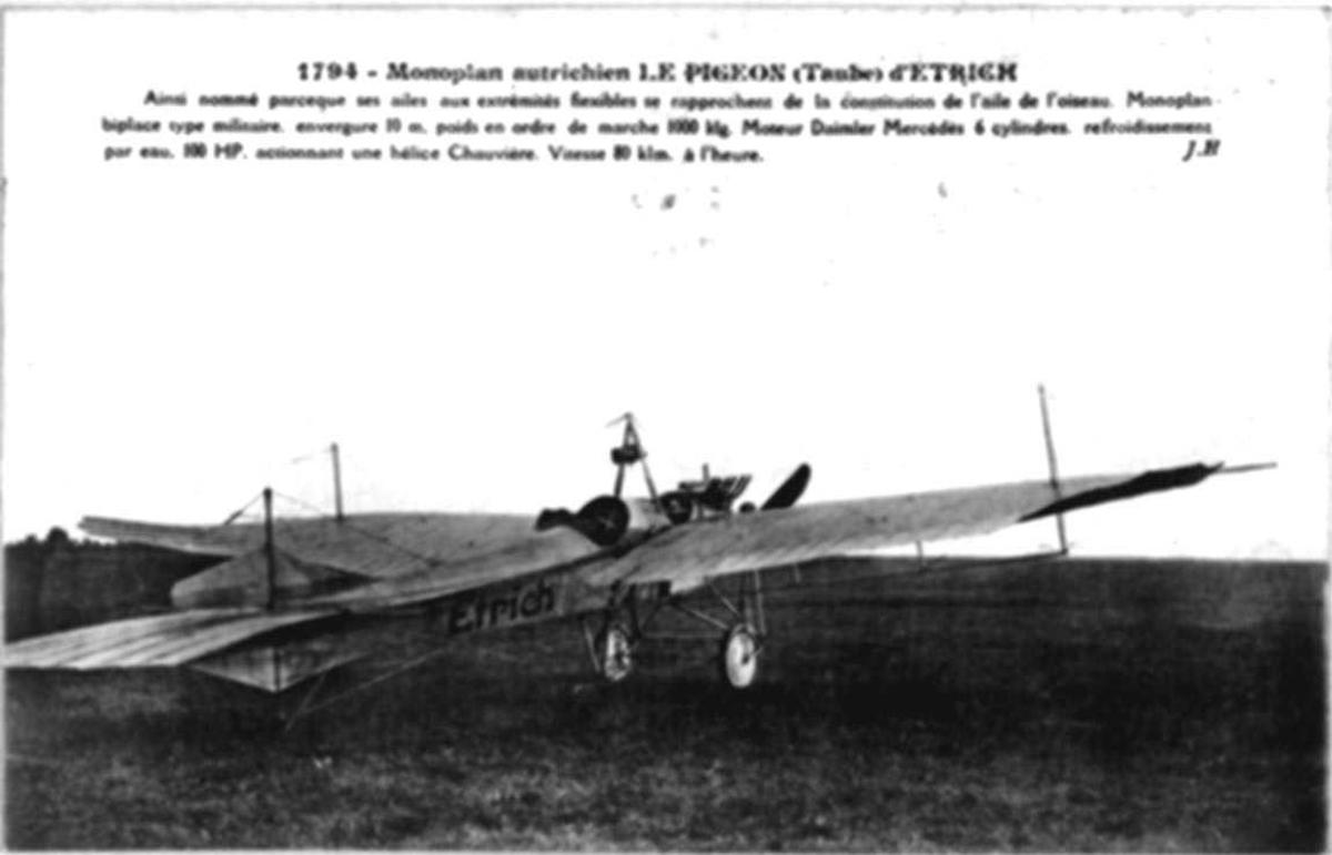 Ett fly på bakken, Etrich Taube. (Fransk tekst på postkortet).