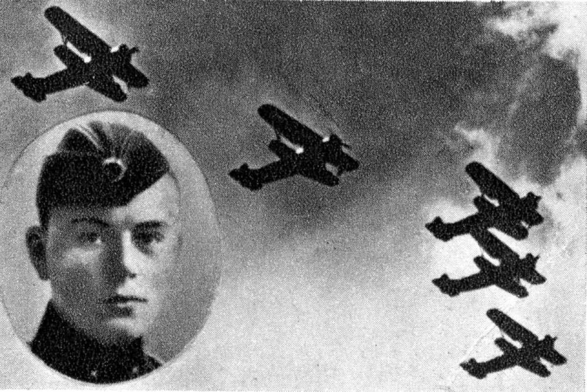Portrett. En person, mann i uniform. (innfelt). Flere fly i luften.