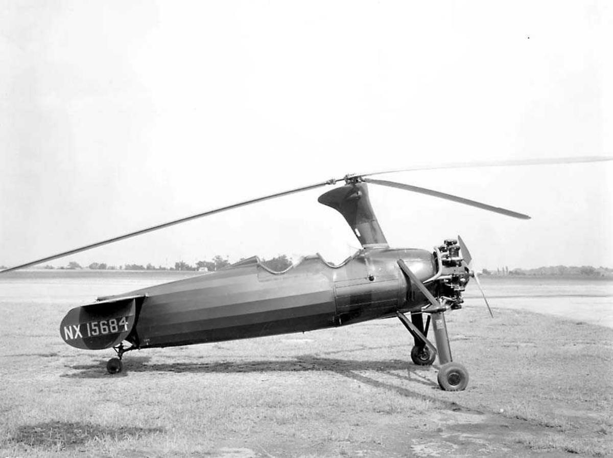 1Autogiro på bakken. Kellett KD-1 Autogiro.