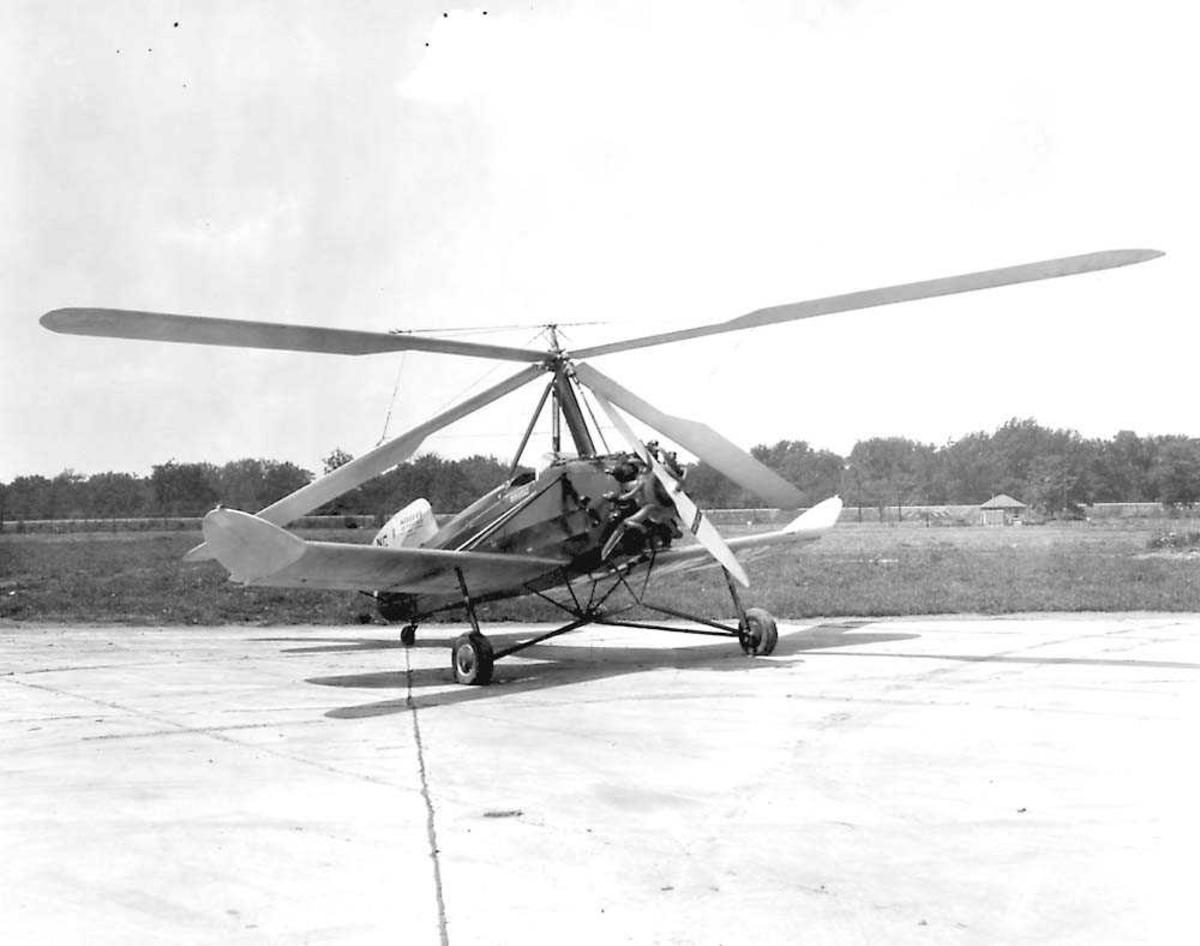 1 Autogiror på bakken. Kellett K-3 Autogiro.