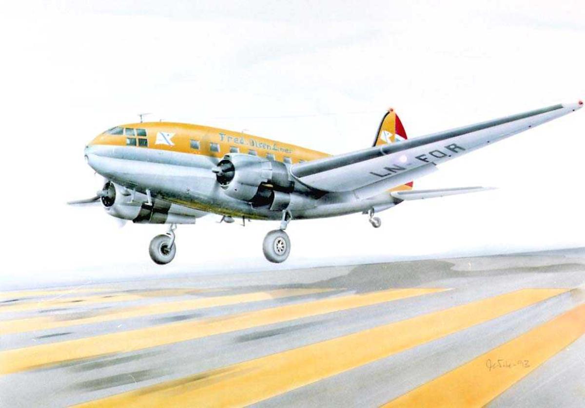 Tegning av et fly som tar av, Curtiss C-46R fra Fred Olsen Lines.