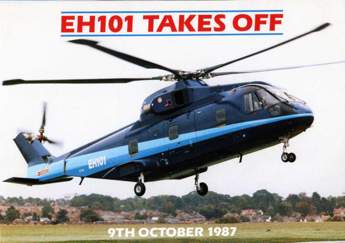 Ett helikopter like over bakken. Augusta-Westland (EHI) EH-101.
