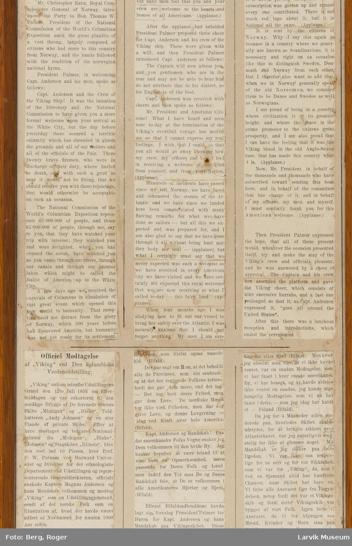 Avskrift av Chicagoutstillingens offisielle referater.