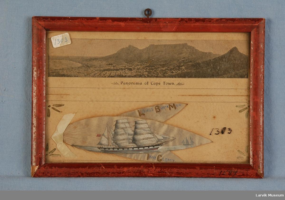 """Jernbark """"Arcadia"""" av Larvik - fra Cape Town 1906 malt på sølvblad, eller også kalt silverleaf, Kapp-blad eller sølvløv"""