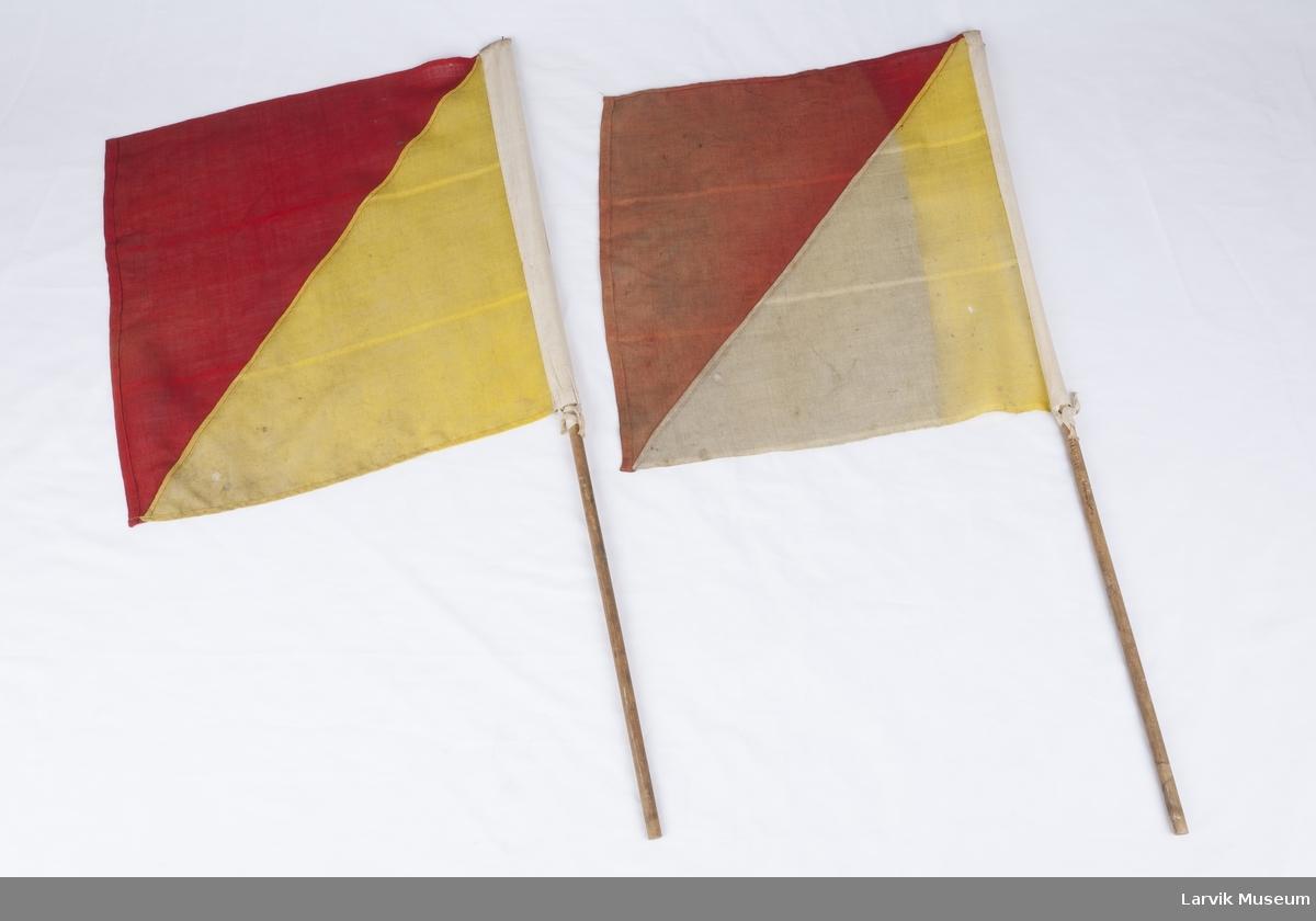 2 semaforflagg, vertikalt delt rød/gul