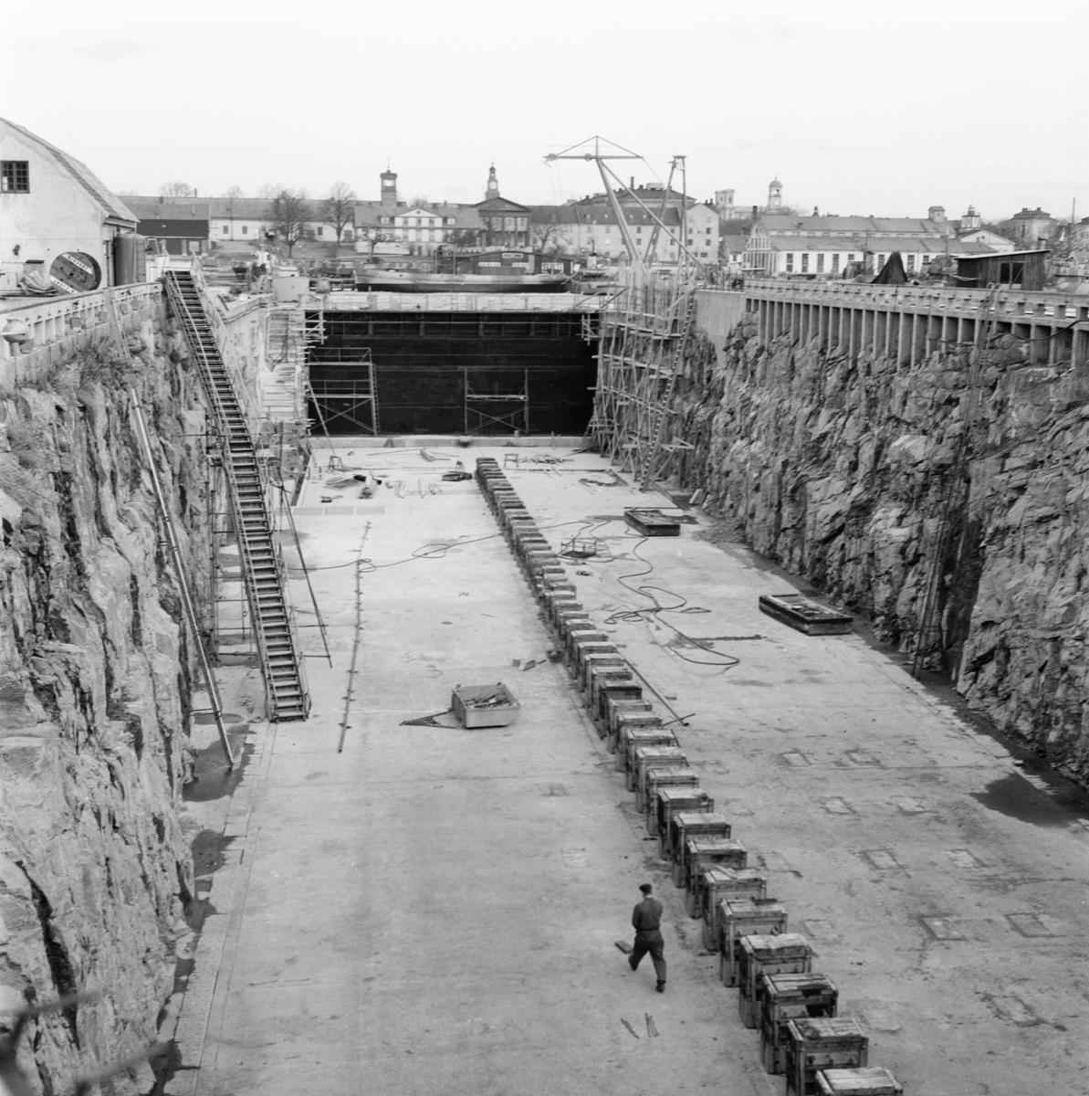 Övrigt: Fotodatum:16/11 1959 Byggnader och Kranar. Polhemsdockan ombyggn.