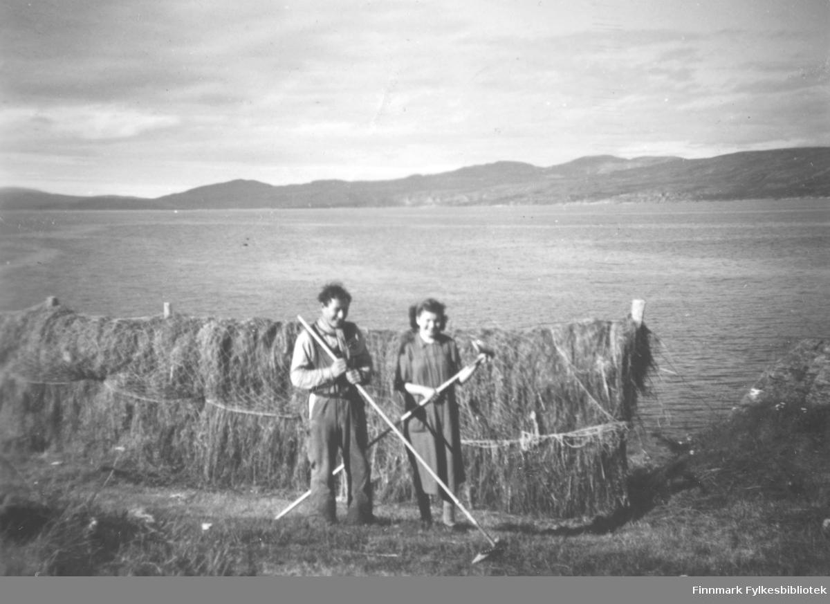 Høytørking i Storjord. Nils Amundsen og Esther Svendsen som står foran hesjer med høy. Han er kledt i snekkerbukse, og skjerf i halsen. Hun har på seg en mørk kjole. De holder hver sin rake. Nedenfor hesjene ligger sjøen. Fjellene ses i bakgrunnen