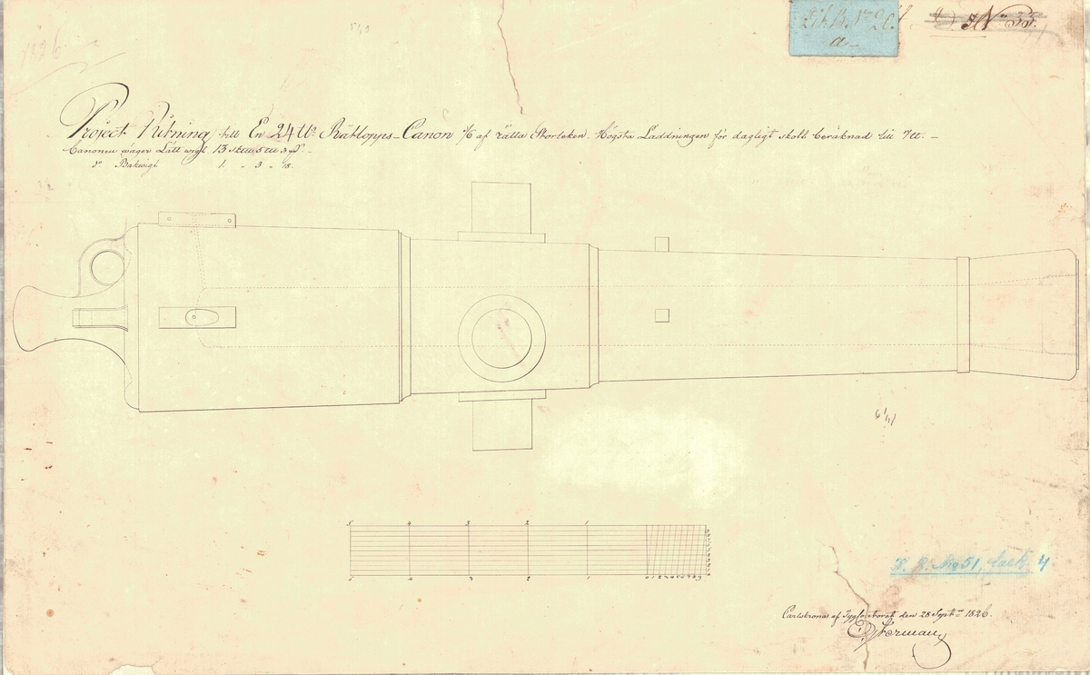 Projektritning till en 24 pundig rätloppskanon.