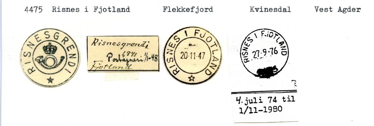 Stempelkatalog 4475 Risnes i Fjotland (Risnesgrendi), Flekkefjord, Kvinesdal, Vest-Agder