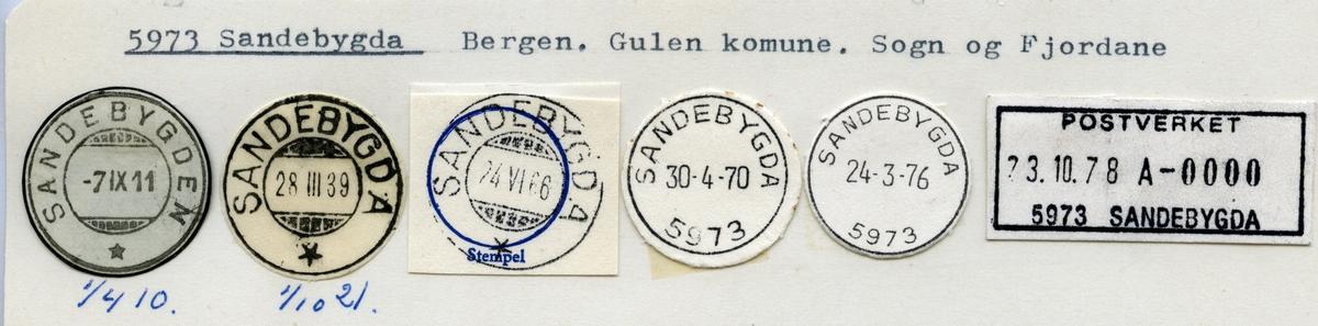 Stempelkatalog  5973 Sandebygda, Gulen kommune, Sogn og Fjordane