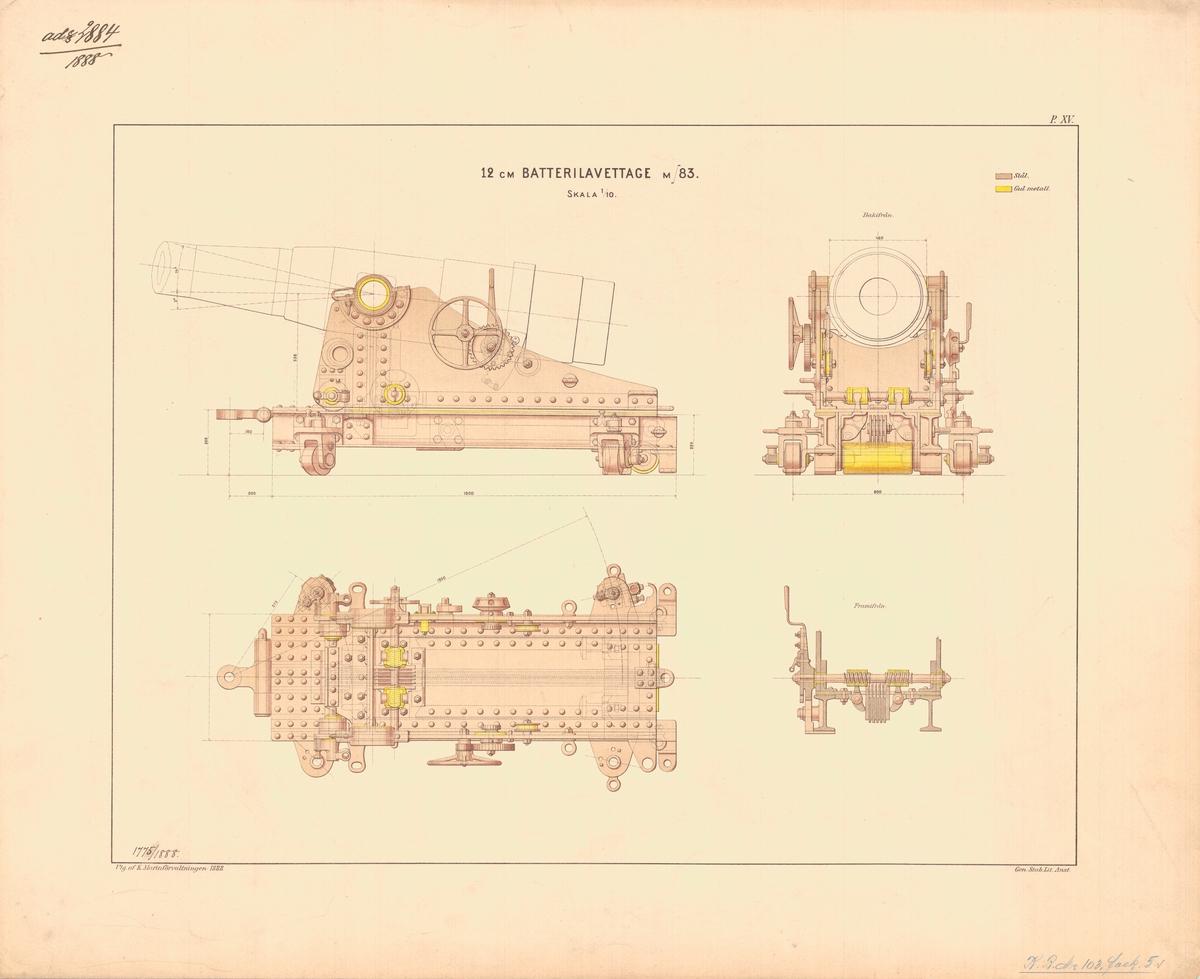 12 cm batterilavettage m/83. Utgiven av Marinförvaltningen 1888