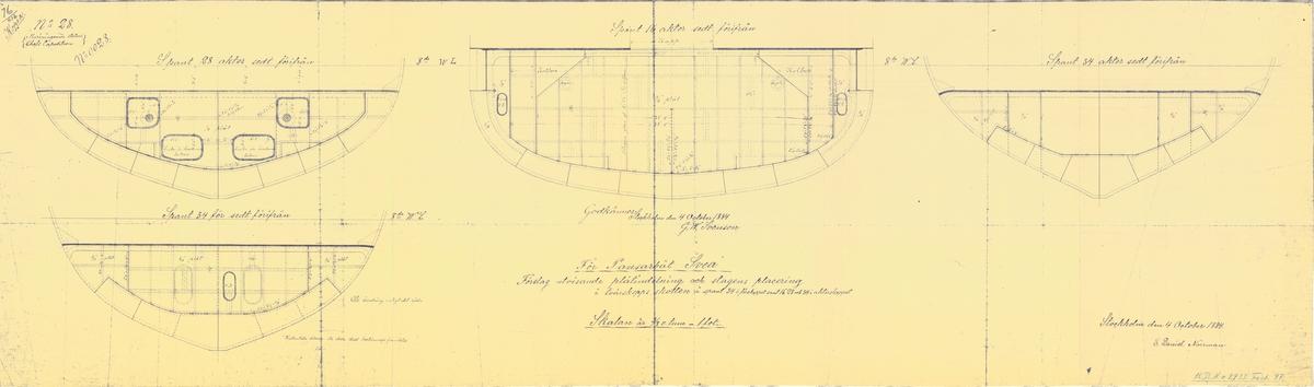 Ritningsförslag visande plåtindelning och stagens placering i tvärskeppsskotten