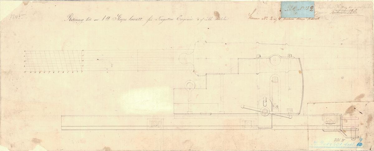 2 st ritningar till en 1 punds slupslavett för fregatten Euginie