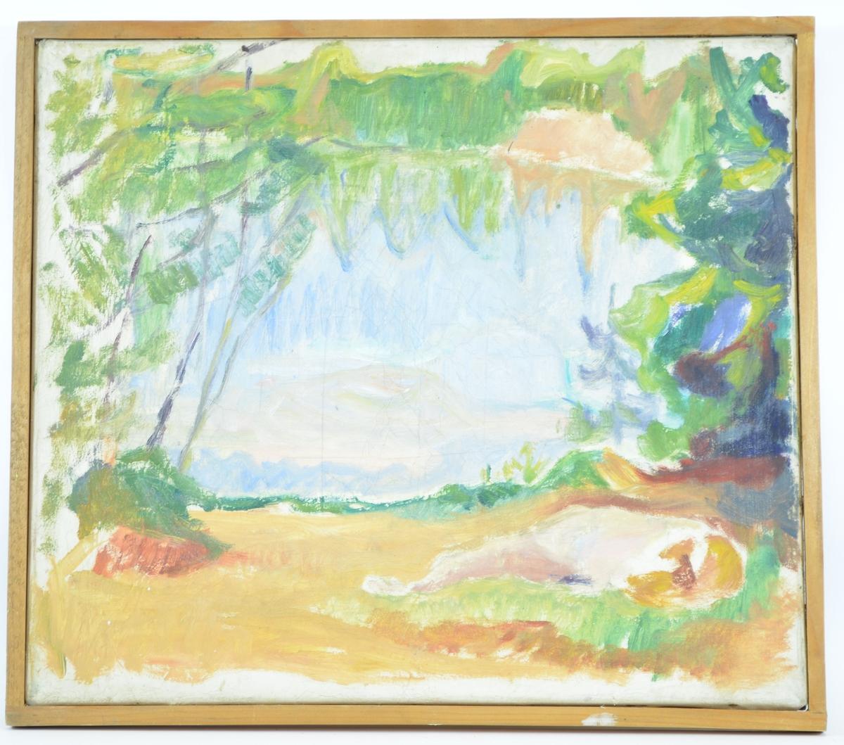 Motivet viser en landskapsscene, hvor en åpen eng er omkranset av skog. Til høyre i bildet ser man konturen av noe som kan være et menneske som ligger på rygg på bakken.