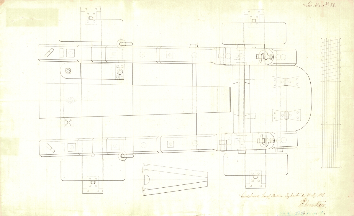Lavett till 24 pundiga kanoner av Chapmans modell för skeppet Gustaf den stores övre batteri