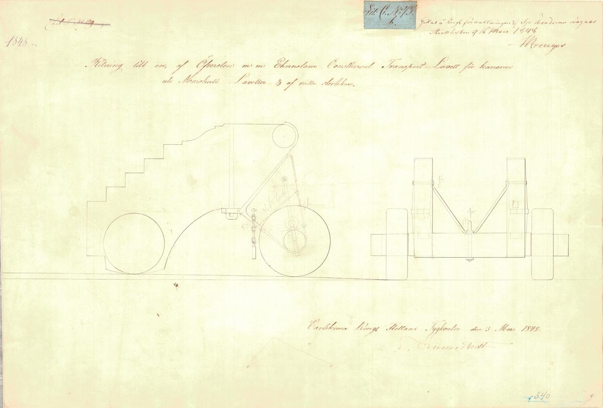 Ritning till en av översten m.m. Ehrenstam konstruerad transportlavett för kanonen uti Marshalls lavetter