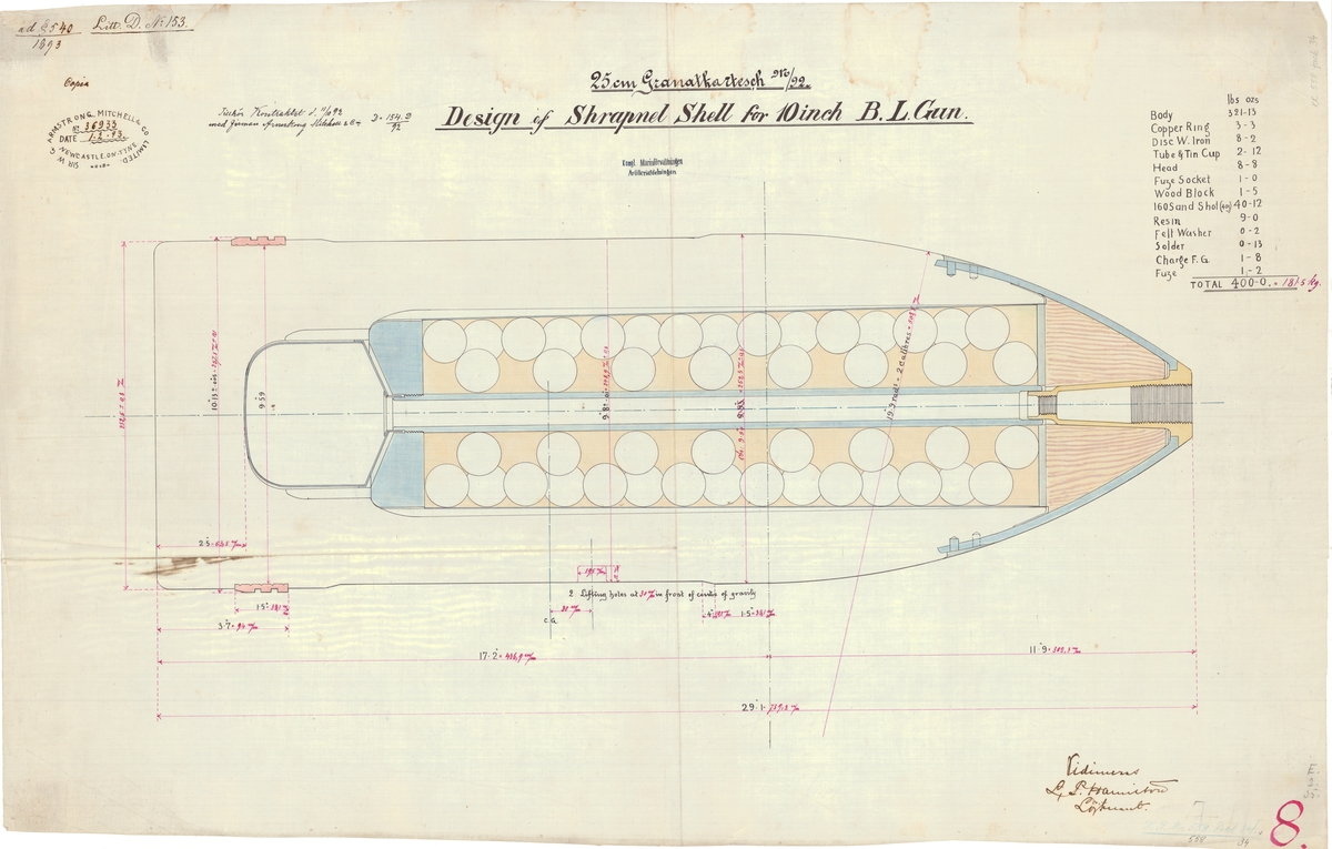 25 cm granatkartesch M/22