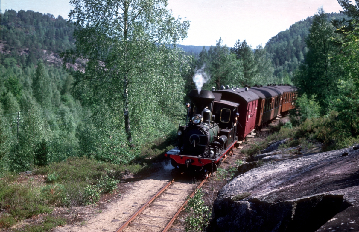Setesdalsbanen, lok nr. 2 med museumstog på vei mot Beihølen.