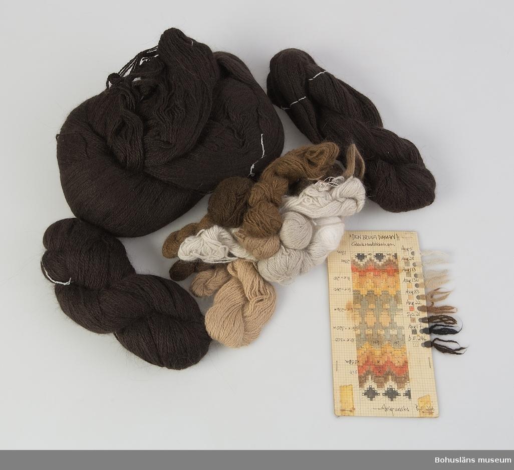 """Stickpaket för jumper i gamla rundstickningen för mönstret Bruna dimman i design av Kerstin Olson. Materialet ligger i sin ursprungliga plastpåse med tryck """"BOHUS STICKNING""""."""