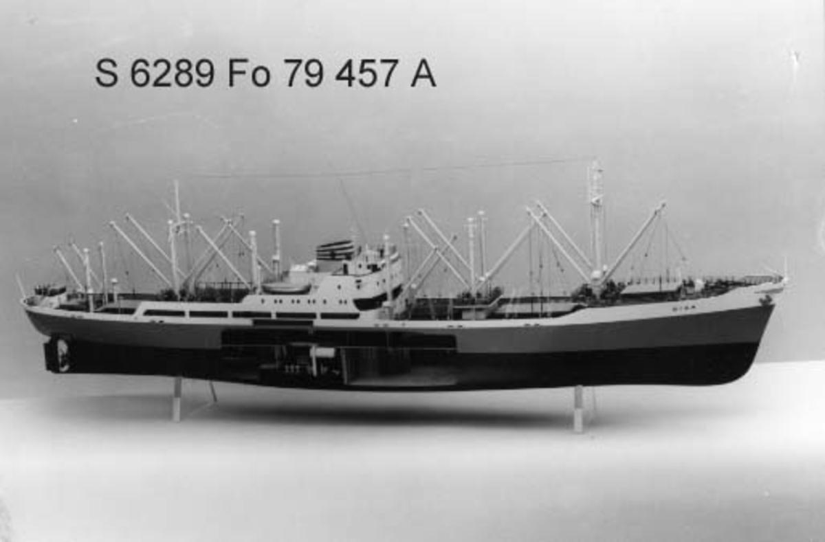 """Fartygsmodell av m/s DISA av Stockholm (b. 1933 i Landskrona). Fullt utrustad, sluten shelterdäckare med back. Styrbordssidan öppnad midskepps visande maskinrum samt lastrummen för och akter därom. Skrov med fallande stäv och kryssarakter, stort bryggdäck med alla bostäder midskepps, gråmålat skrov, vita bordgångar, grön """"boot topping"""", och röd botten, gröna däck, 5 luckor och """"strongroomlucka"""", 19 bommar. Gul skorsten med blå ringar."""