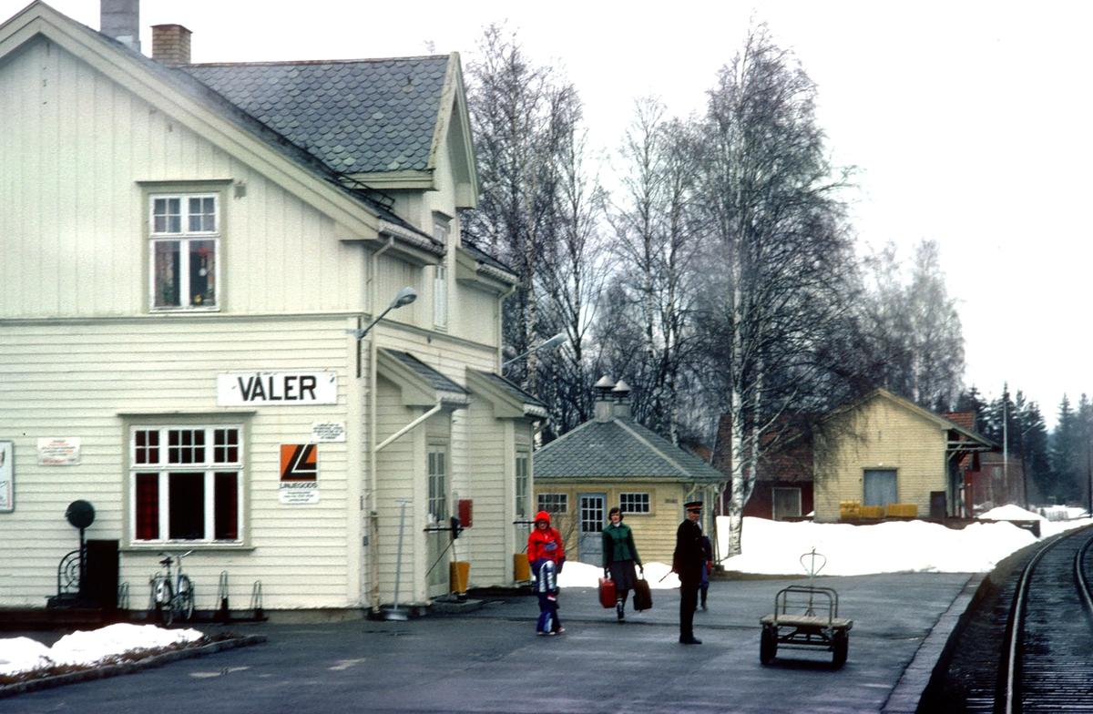 Våler stasjon. Tog 1081 Kongsvinger - Elverum kjører inn på stasjonen.