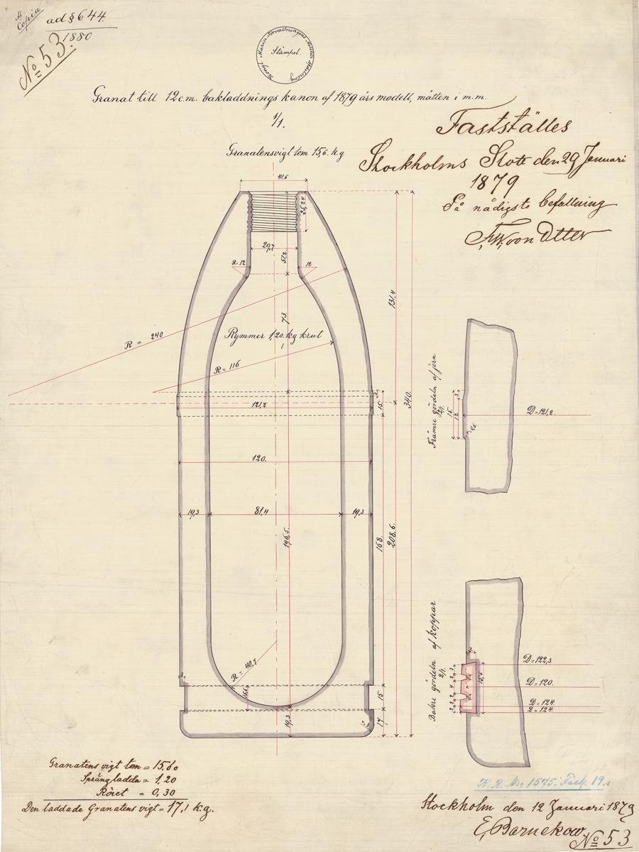 Granat till 12 cm bakladdningskanon av 1879 års modell