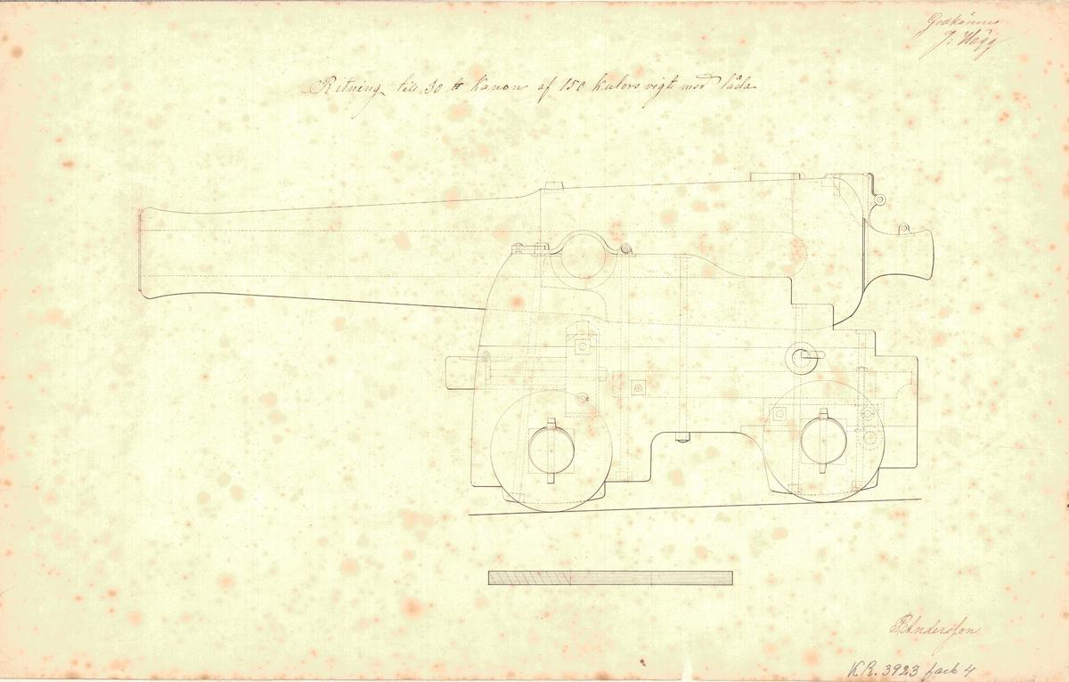 Ritning till 30 pundig kanon av 150 kulors vikt med låda.