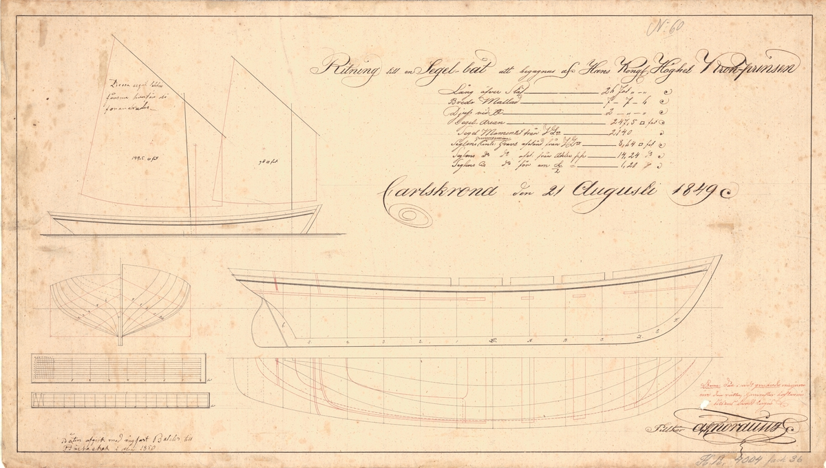 Ritning till en segelbåt att begagnas av HKH Kronprinsen Konstruktionsritning, spantruta och segelritning.
