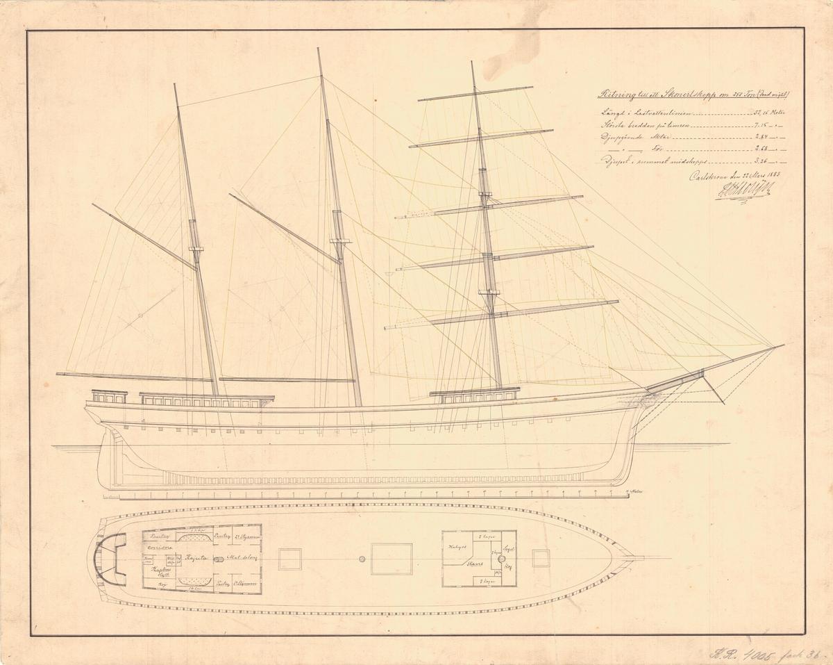 Ritning till skonertskepp om 250 ton. Plan, längd och segelritning