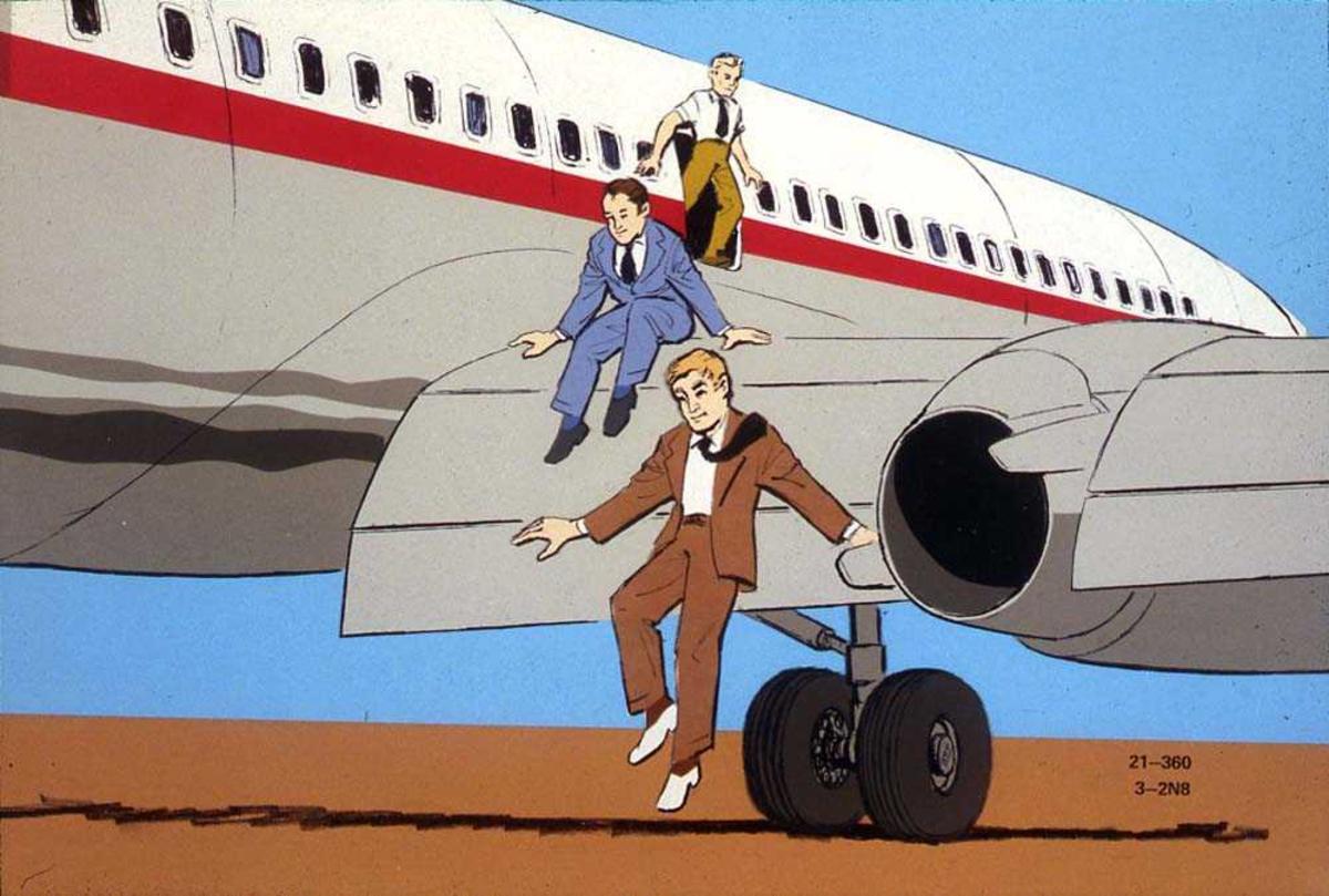 Tegning av flere passasjer som er på vei ut av nødutgangen på ett fly, Boeing 737-200, og ned fra vingen.