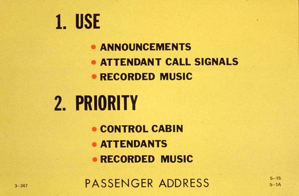 Bruk og prioritetsliste for mannskapet i kabinen ombord i ett fly, Boeing 737-200.