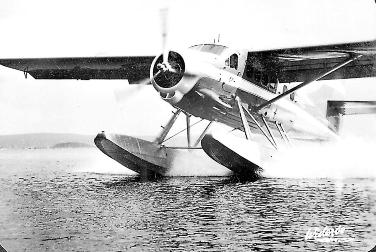 1 fly i ferd med å lette/lande på vannet, D.H. Otter.