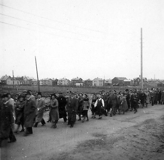 Frigjøringsdagene i Bodø etter krigen 1945. Mange personer går i tog i området ved Svenskebyen.