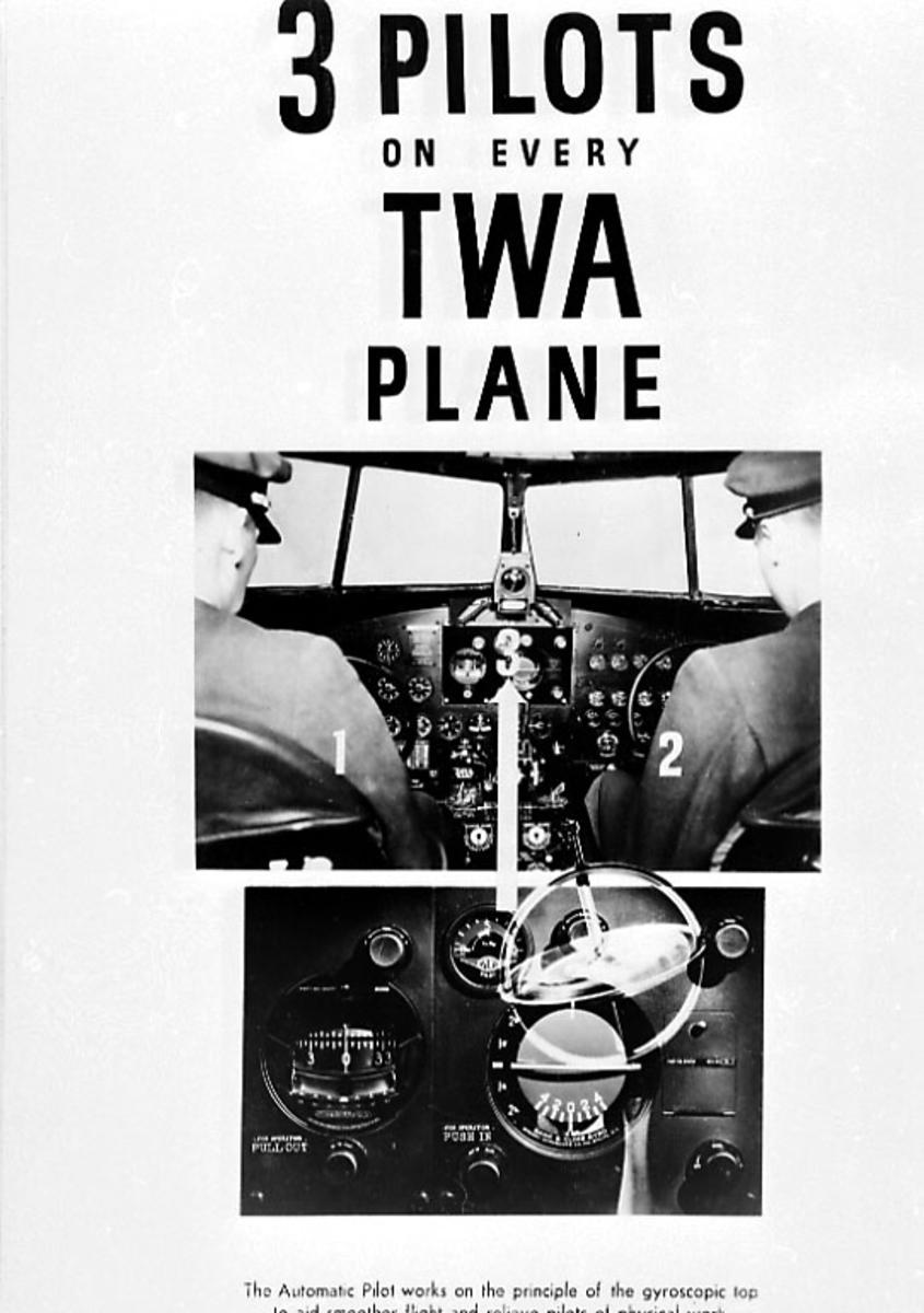 Div. reklame og opplysninger om TWA - illustrert med bilder, skisser og tekst