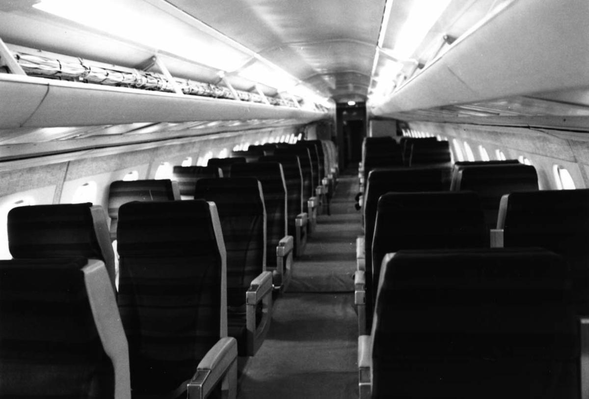 Flykabin, tomme seter ombord i Concorde F-WTSB.