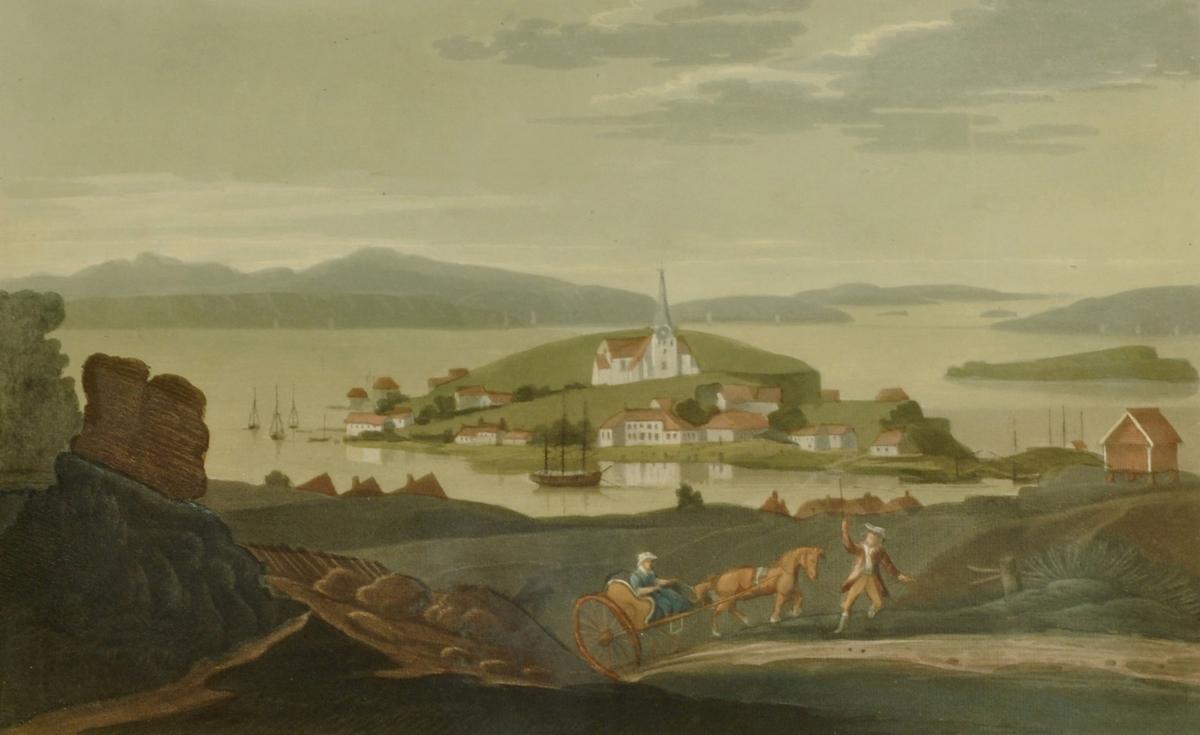Brevik med Sylterøen i bakgrunnen.  Kobberstikk - Brevik, Edy