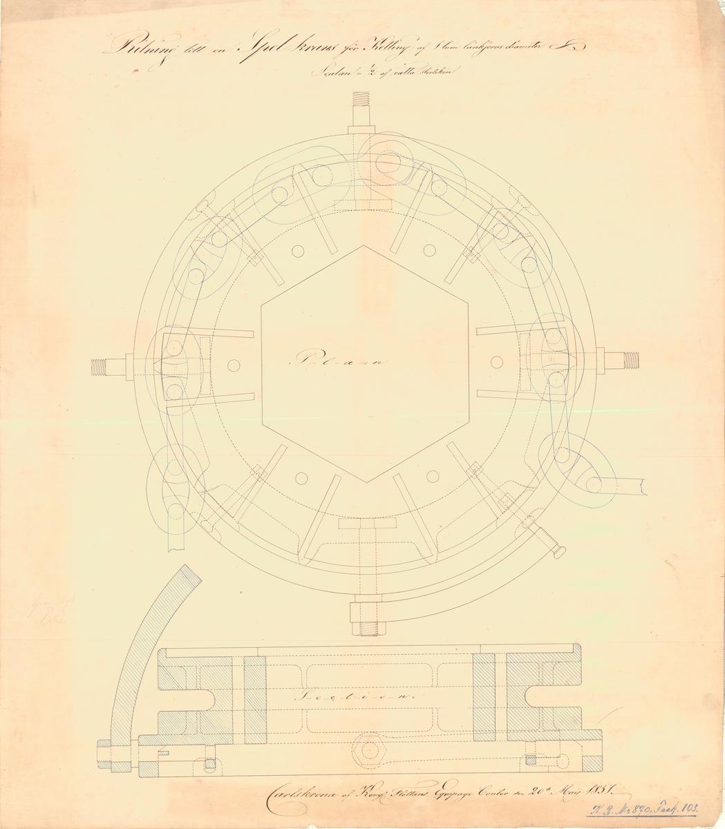 Ritning till spelkrans för kätting av 1 tums länkjärnsdiameter.