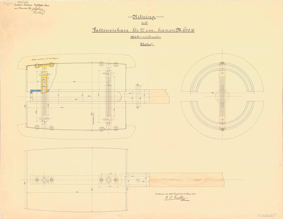 Ritning till Vattenviskare för 27 cm kanon M/69 och 76