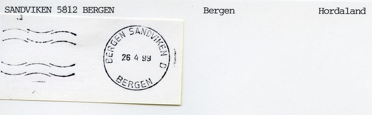 Stempelkatalog  Sandviken 5812 Bergen, Bergen kommune, Hordaland
