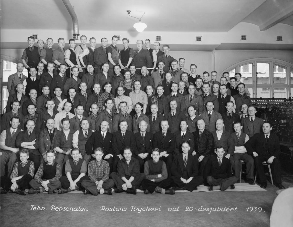 Postverkets tryckeri, Centralposthuset, Stockholm 1939. Foto med anledning av personalklubben Posttypens 20-års jubileum.